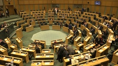 Middle Eastern politicians debate in the parliament of Jordan Stock Footage