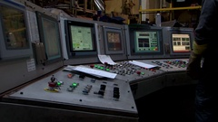 Aluminium extrusion production line factory control room pannel screens factory Stock Footage