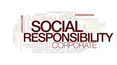 Social responsibility animated word cloud, text animation. Kinetic typography. Stock Footage