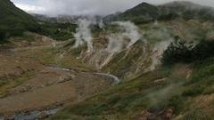 Valley of Geysers in Kamchatka Peninsula Stock Footage