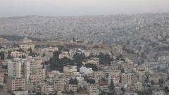 Citadel ruins and the skyline of Amman, capital city of Jordan Stock Footage