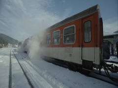 Steam rises from effectively stopped the train in winter Stock Footage