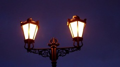 Night street lamp, lantern Stock Footage