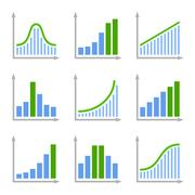 Charts Diagrams and Graphs Flat Icons Set. Vector Piirros