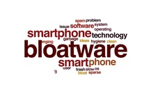 Bloatware animated word cloud, text design animation. Stock Footage
