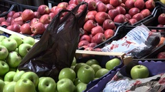 Closeup of fresh apples at fruit and vegetable market in Amman Stock Footage