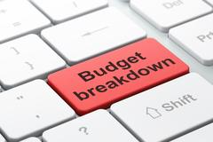 Finance concept: Budget Breakdown on computer keyboard background Piirros