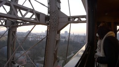 View through the cabin window Giant Ferris Wheel, Vienna Prater Stock Footage