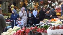 People do grocery shopping in food bazaar in Amman, Jordan Stock Footage
