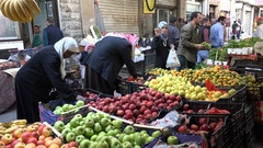 Fresh fruit and vegetables for sale at market in Amman, Jordan Stock Footage