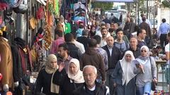Busy shopping street in central Amman, Jordan Stock Footage