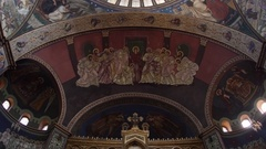 Religious painting on the walls of a large church Stock Footage