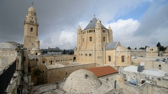 The Dormition Abbey in old city of the Jerusalem, Israel, Middle east.  Stock Footage