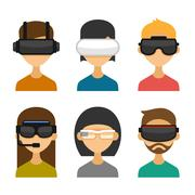 Avatars with Virtual Reality Glasses Icon Set. Flat Style Design. Vector Piirros