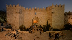 General view of the Damascus gate in the Jerusalem, Israel.  Stock Footage