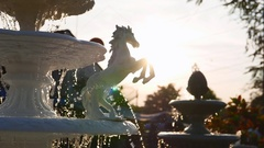 Fountain with White sculpture Stock Footage