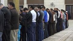 Evening prayer session in Jordanian mosque Amman Stock Footage