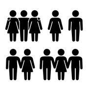 Alone, Couple and Threesome Human Icons Set. Sexual Relationships Combinati.. Stock Illustration