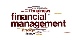 Financial management animated word cloud, text design animation. Stock Footage