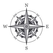Wind Rose or Compass Icon on White Background. Vector Stock Illustration