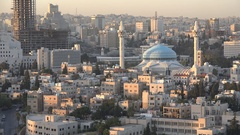View of the blue domed King Abdullah mosque in Amman in late afternoon light Stock Footage
