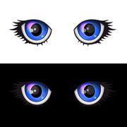 Blue Cartoon Anime Eyes Set. Vector Piirros