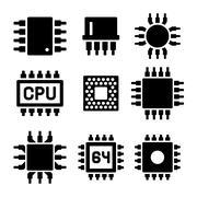 CPU Microprocessor and Chips Icons Set. Vector Stock Illustration