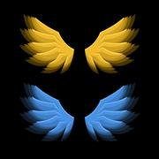 Fiery Golden and Blue Wings on Black Background. Vector Stock Illustration