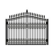 Fence Wrought Iron Gate. Old Style Door. Vector Stock Illustration