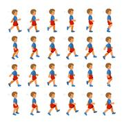 Phases of Step Movements Boy in Walking Sequence for Game Animation Stock Illustration
