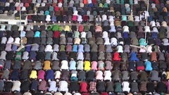 Massive crowds attend Friday prayer in Dhaka mosque, Bangladesh Islam Stock Footage