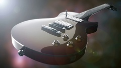 Electric guitar with light lense flair Stock Footage