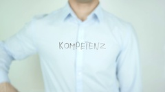 Kompetenz, Competence in German Writing on Glass Stock Footage