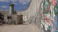 Graffiti art at the separation barrier between Israel and the West Bank Stock Footage