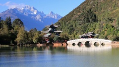 Real time video of tourists walking around the Black Dragon Pool in Lijiang Stock Footage