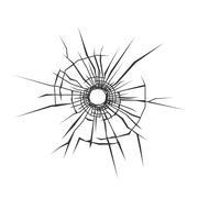 Bullet Hole in Glass. White Background. Vector Stock Illustration