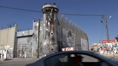 Watchtower separation barrier attacked with paint in West Bank Stock Footage