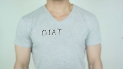 Diät, Diet in German Writing on Glass Stock Footage