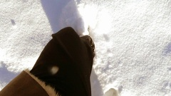 Walking in deep snow Stock Footage