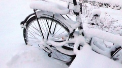 Bike covered, buried with snow Stock Footage