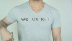 Wer bin ich ?, Who am I ? in German Writing on Glass Stock Footage