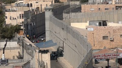 Two sides of the separation barrier between Israel and West Bank Stock Footage