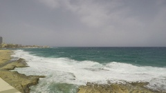 Cliff Waves,Republic of Malta, Real Time Stock Footage