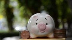 Save money, piggy save money concept Stock Footage