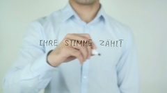 Ihre Abstimmung zählt, Your Vote Counts in German Writing on Glass Stock Footage