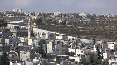 Permanent Palestinian refugee camp (Aida), separation wall West Bank Stock Footage