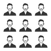 Hipster With Mustache Set on White Background. Vector Stock Illustration