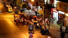 Fengxian street food spot in motion. Stock Footage
