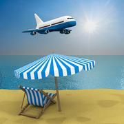 Vacation on the seashore. 3D image Stock Illustration