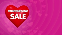 Valentines day discount offer concept, flying 3D big red heart with lettering Stock Footage